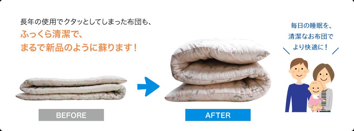 長年の使用でクタッとしてしまった布団も、ふっくら清潔で、まるで新品のように蘇ります!毎日の睡眠を、清潔なお布団でより快適に!