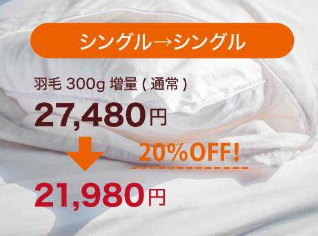 シングル→シングル 羽毛300g増量が20%OFF!24,980円が19,980円に。
